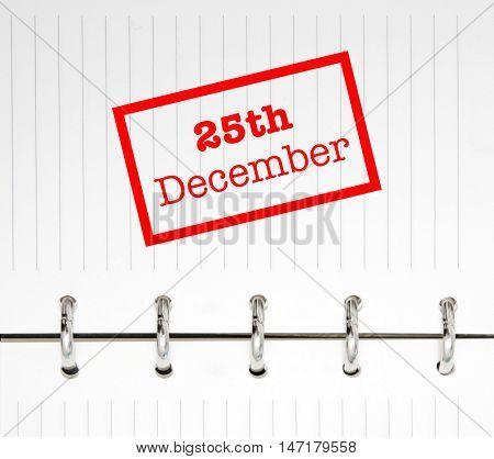 25th December written on an agenda
