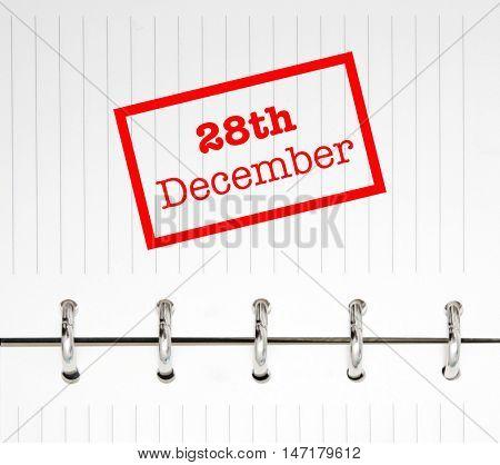 28th December written on an agenda