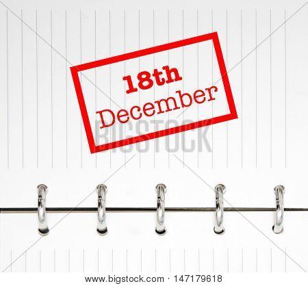 18th December written on an agenda