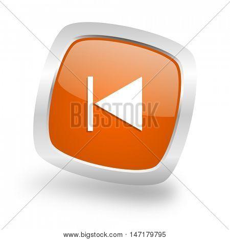 prev square glossy orange chrome silver metallic web icon