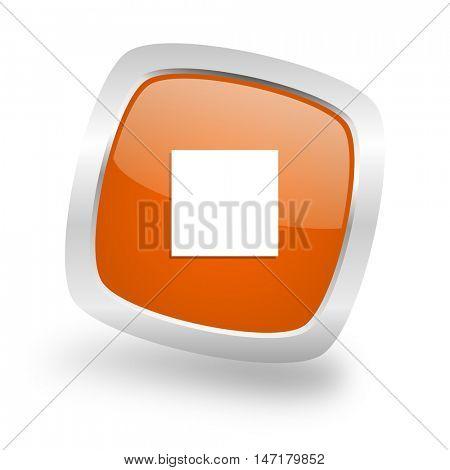 stop square glossy orange chrome silver metallic web icon