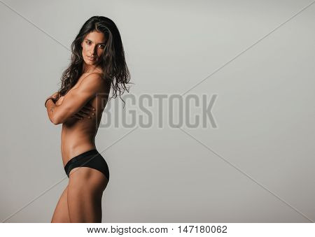 Beautiful Woman In Profile View With Copy Space
