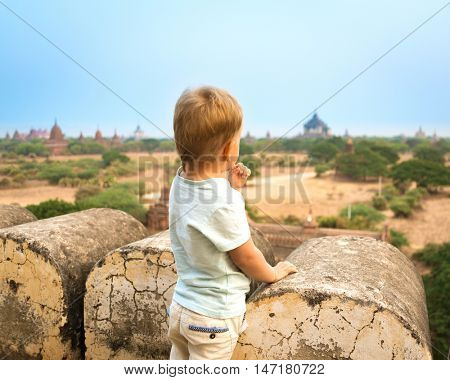 View from the Shwesandaw in Bagan. Myanmar.