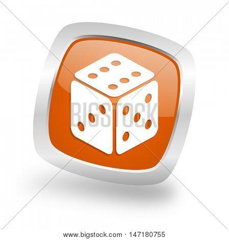 game square glossy orange chrome silver metallic web icon