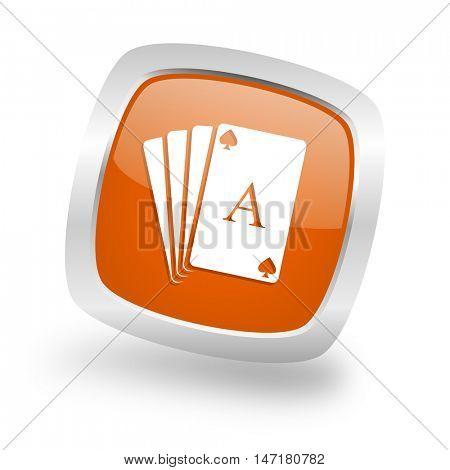 card square glossy orange chrome silver metallic web icon