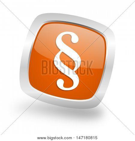 paragraph square glossy orange chrome silver metallic web icon
