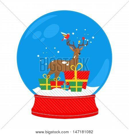 snow globe deer in vector format eps10
