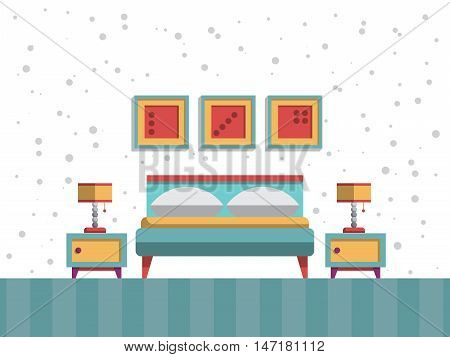 the interior of bedroom with bed, mattress, table lamp and pillows, painted in a flatstyle. Scandinavian bedroom interior