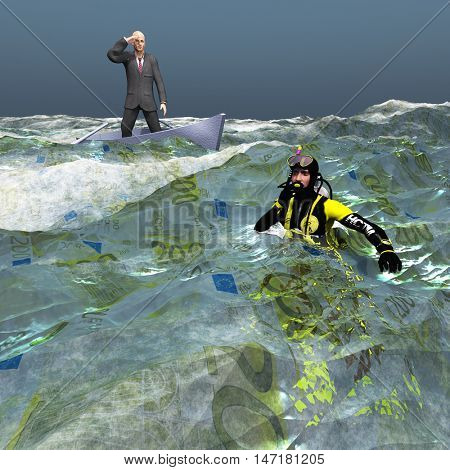 Man in tiny boat and diver in Euro Currency sea 3D Render