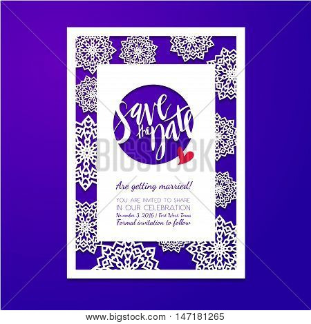 Save the date card. Laser cutting pattern. Wedding invitation bridal shower baby shower birthday party in winter with snowflakes.