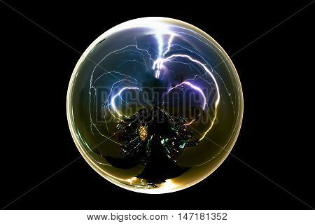 Isolated abstract thunder storm lightning bolt in the glass ball on black background with clipping path