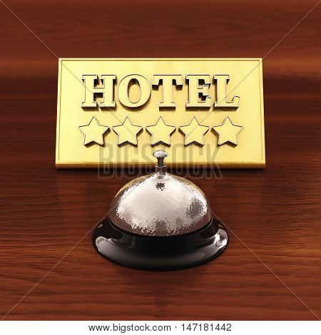 Chrome service bell and golden hotel plate , 3d illustration