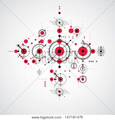 Vector Bauhaus red abstract background made with grid and overlapping simple geometric elements circles and lines. Retro style artwork graphic template for advertising poster.