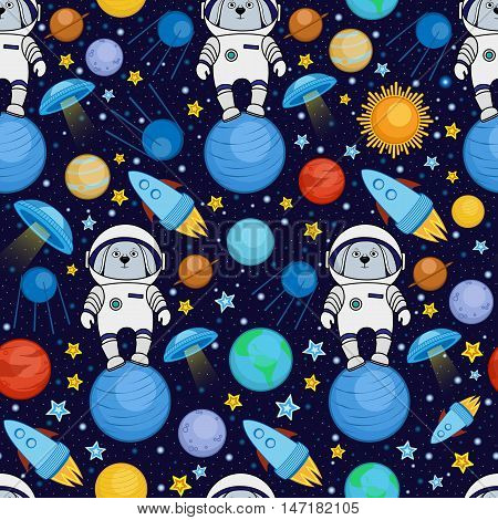 Colorful seamless cartoon space pattern with rabbit astronauts, rockets, planets, stars on starry night sky background, vector illustration. Cute and bright space travel seamless pattern