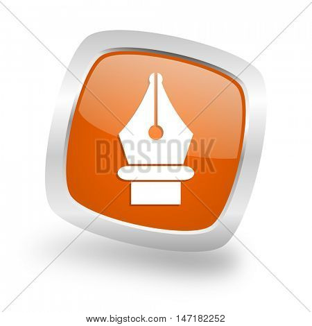 pen square glossy orange chrome silver metallic web icon