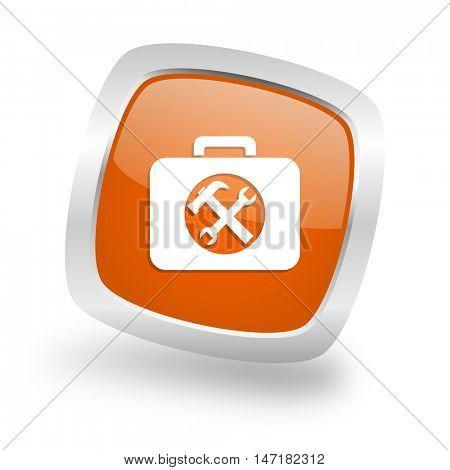 toolkit square glossy orange chrome silver metallic web icon