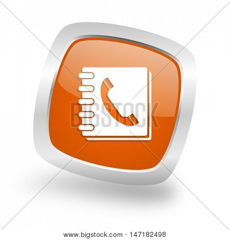phonebook square glossy orange chrome silver metallic web icon