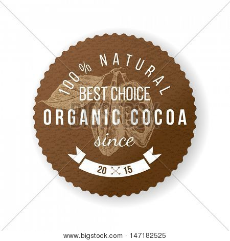 Organic cocoa round label with type design