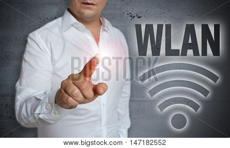 Wlan Icon Touchscreen Is Operated By Man