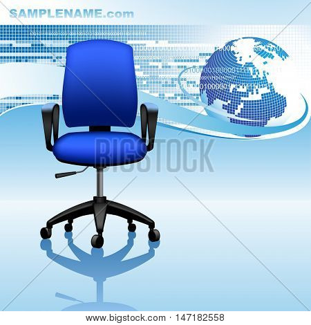 Blue template design with abstract background, globe and office chair. Global business conceptual 3D  illustration