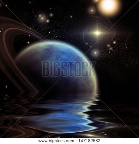 Exosolar Planet Rise over quiet waters 3D Render