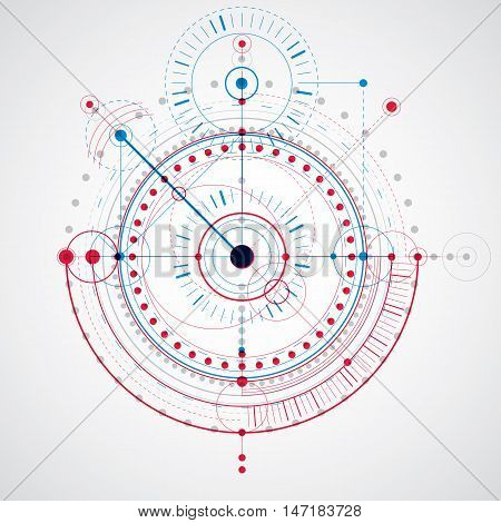 Technical drawing made using dashed lines and geometric circles. Blue and red vector