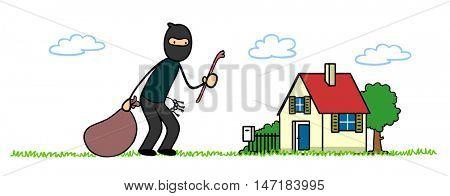 Cartoon burglar or housebreaker in front of a house