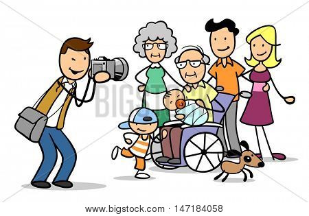 Cartoon photographer taking family portrait with kids and grandparents