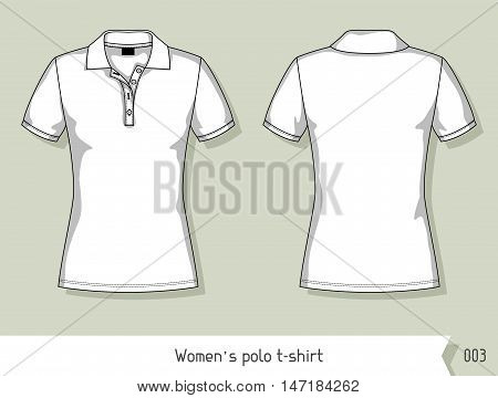 Women polo t-shirt. Template for design, easily editable by layers.