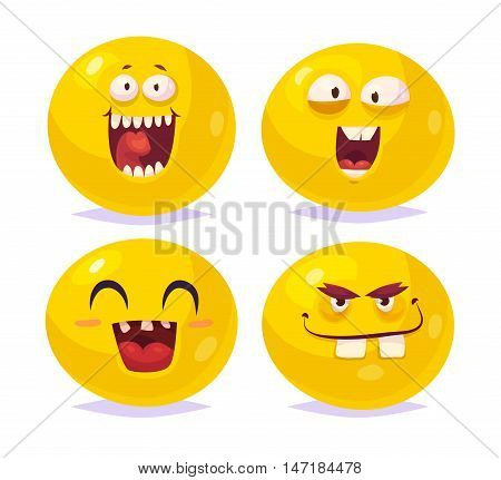 Set of halloween funny smiles. Vampire Dracula monster cyclops. Vector cartoon illustration. Cute stylish characters.
