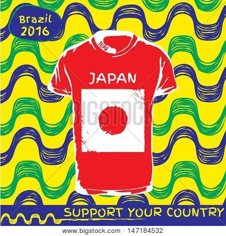 Hand drawn vector. vector pattern with t-shirt with country flag. Support your country. Ipanema, brazil, 2016 pattern. National flag. Japan