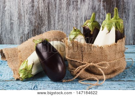 Colored Eggplants In The Pouch From Burlap