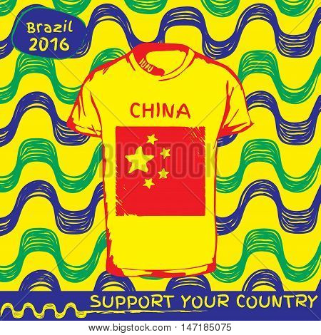 Hand drawn vector. vector pattern with t-shirt with country flag. Support your country. Ipanema, brazil, 2016 pattern. National flag. China