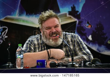 CLUJ-NAPOCA ROMANIA - AUGUST 6 2016: Actor and Dj Kristian Nairn (Hodor Game of Thrones) answering questions during a press conference at Untold Festival