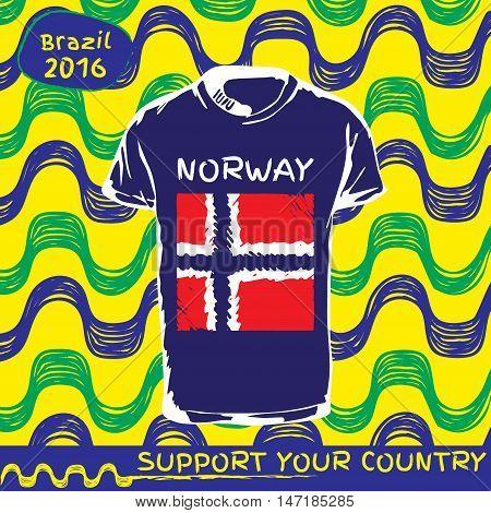 Hand drawn vector. vector pattern with t-shirt with country flag. Support your country. Ipanema, brazil, 2016 pattern. National flag. Norway