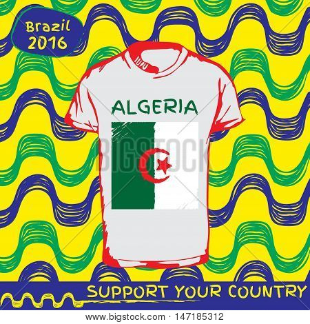 Hand drawn vector. vector pattern with t-shirt with country flag. Support your country. Ipanema, brazil, 2016 pattern. National flag. Algeria