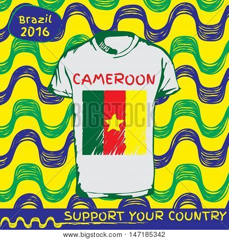 Hand drawn vector. vector pattern with t-shirt with country flag. Support your country. Ipanema, brazil, 2016 pattern. National flag. Camerun