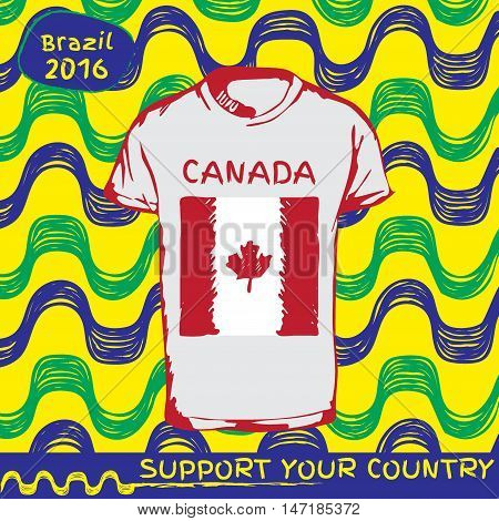 Hand drawn vector. vector pattern with t-shirt with country flag. Support your country. Ipanema, brazil, 2016 pattern. National flag.anada