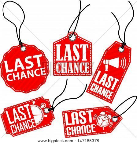 Limited Chance Red Tag Set, Vector Illustration
