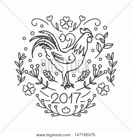 Hand Drawn Rooster. 2017 Chinese New Year of the Cock. Line style illustration isolated on white background. Poster with symbol of year. Vector greeting ecard.