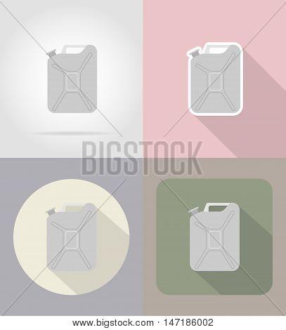 metallic jerrycan flat icons vector illustration isolated on background