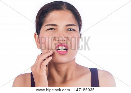 young beauty women toothache on white background