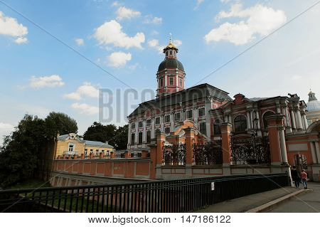 Saint-Petersburg, Russia - August 14, 2016: Saint Alexander Nevsky Lavra or Saint Alexander Nevsky Monastery. Church of the Annunciation.View summer in August 14, 2016 Saint-Petersburg, Russia.