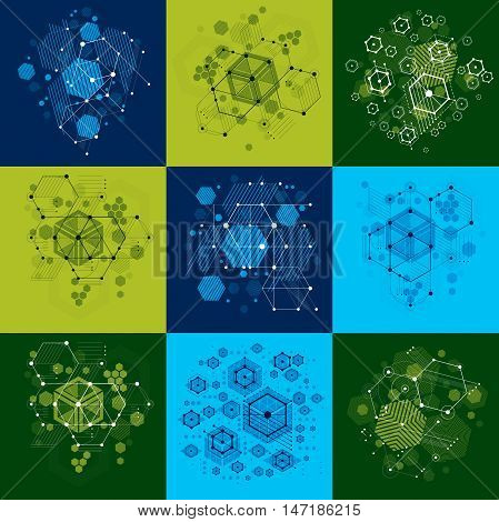 Set of vector abstract backgrounds created in Bauhaus retro style using honeycombs and circles.