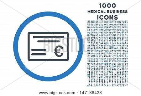 Euro Cheque rounded vector bicolor icon with 1000 medical business icons. Set style is flat pictograms, smooth blue colors, white background.