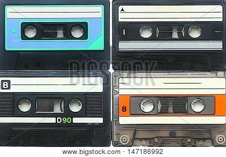 Audio cassettes for recorder 80s 90s 70s retro vintage old music illustration background