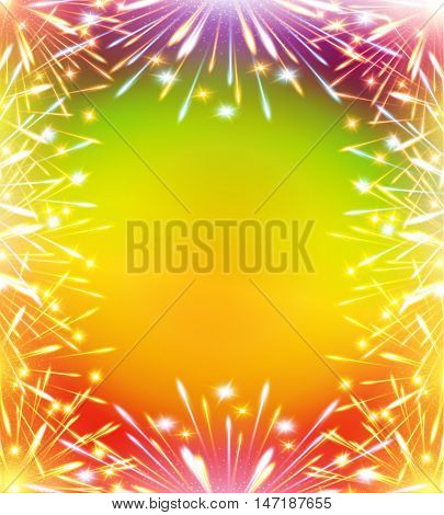 fireworks greeting card  congratulations vertical template blank