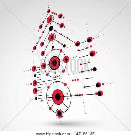 3d vector abstract red background created in Bauhaus retro style. Dimensional modern geometric composition can be used as templates and layouts.