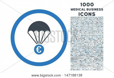 Euro Parachute rounded vector bicolor icon with 1000 medical business icons. Set style is flat pictograms, smooth blue colors, white background.
