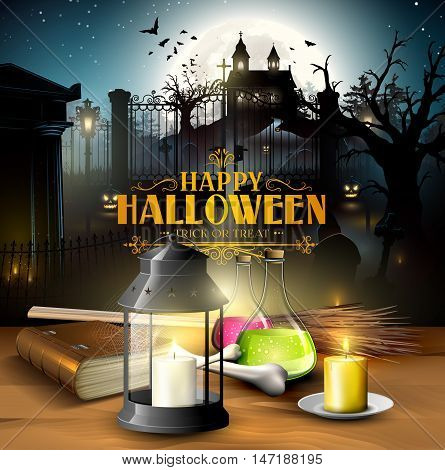 Halloween greeting card - Tubes with potions old book lantern and wooden sign in front of old graveyard